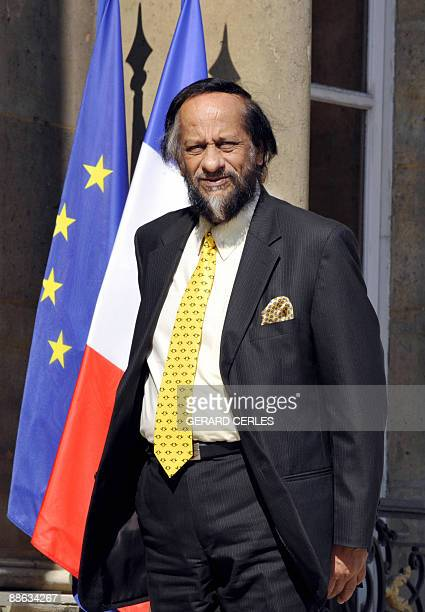 Rajendra Kumar Pachauri chairman of the Intergovernmental Panel on Climate Change arrives at the Elysee palace for a bilateral meeting with French...