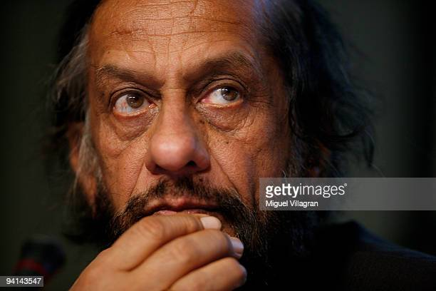 Rajendra Kumar Pachauri Chairman of the Intergovernmental Panel on Climate Change looks on during a press conference at the second day of the United...