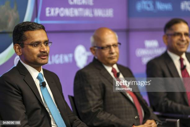 Rajesh Gopinathan chief executive officer and managing director of Tata Consultancy Services Ltd speaks alongside N Ganapathy Subramaniam chief...
