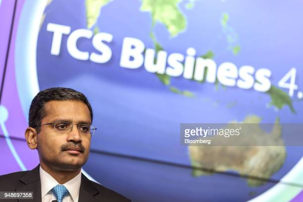 Rajesh Gopinathan chief executive officer and managing director of Tata Consultancy Services Ltd looks on during a news conference in Mumbai India on...