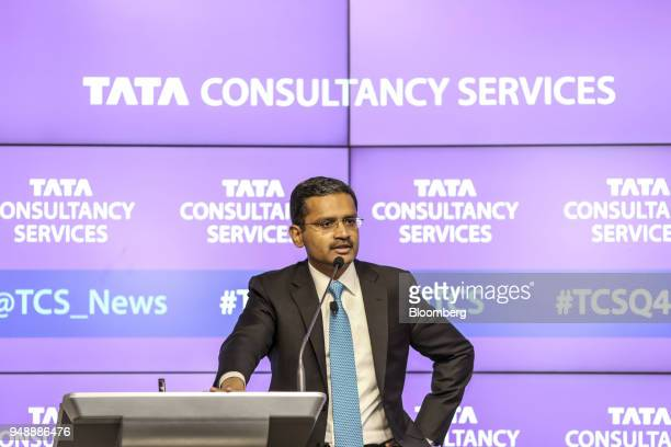 Rajesh Gopinathan chief executive officer and managing director of Tata Consultancy Services Ltd speaks during a news conference in Mumbai India on...