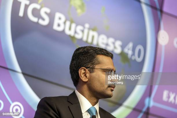 Rajesh Gopinathan chief executive officer and managing director of Tata Consultancy Services Ltd attends a news conference in Mumbai India on...