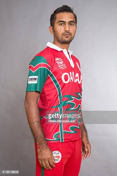 Rajesh Kumar Ranpura of Oman poses during the official photocall for the ICC Twenty20 World on March 2 2016 in Mohali India