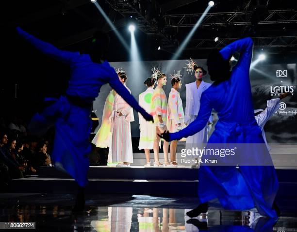 Rajesh Pratap Singh's collection at the Lotus Make-Up India Fashion Week's Spring Summer 2020 Finale presented by the FDCI on October 12, 2019 in New...