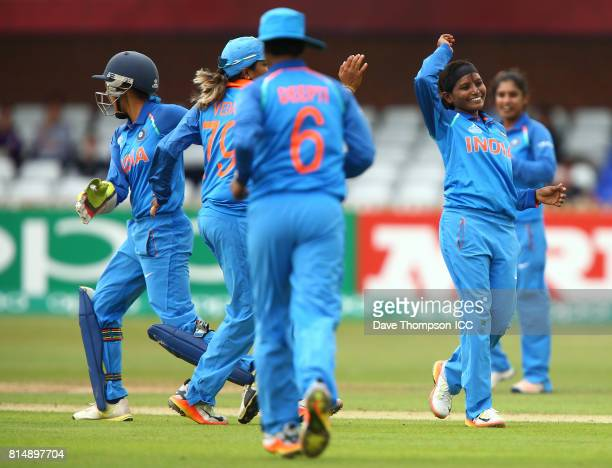 Rajeshwari Gayakwad of India celebrates taking the wicket of Amy Satterthwaite of New Zealand during the ICC Women's World Cup match between India...