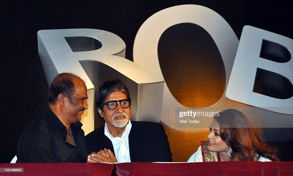 Rajinikanth Aishwarya Rai and Amitabh Bachchan during the music launch of the film `Robot` in Mumbai on August 14 2010