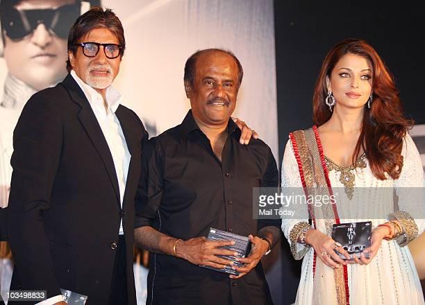 Rajinikanth Aishwarya Rai and Amitabh Bachchan during the music launch of the film 'Robot' in Mumbai on August 14 2010
