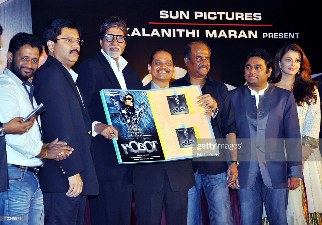 Rajinikanth Aishwarya Rai AR Rahman and Amitabh Bachchan with other cast members during the music launch of the film `Robot` in Mumbai on August 14...