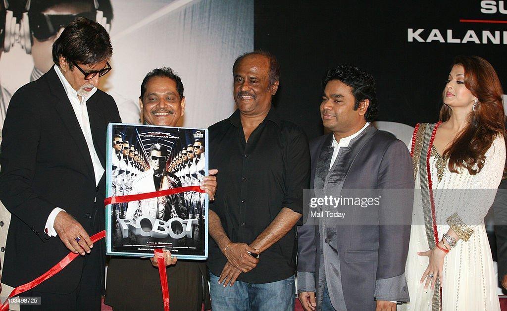 Rajinikanth Aishwarya RaiAR Rahman and Amitabh Bachchan during the music launch of the film `Robot` in Mumbai on August 14 2010