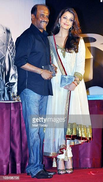 Rajinikanth and Aishwarya Rai during the music launch of the film 'Robot' in Mumbai on August 14 2010