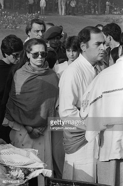 Rajiv and his wife Sonia Gandhi visit Rajiv's grandfather's grave Jawaharlal Nehru on the anniversary of his 96th birthday Nehru was the first Prime...