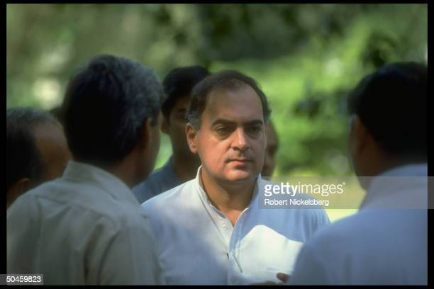PM Rajiv Gandhi during daily durbar at his official residence in New Delhi India
