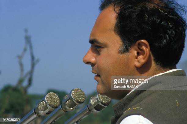 Rajiv Gandhi en campagne electorale a Calcutta le 5 mars 1984 a Calcutta Inde