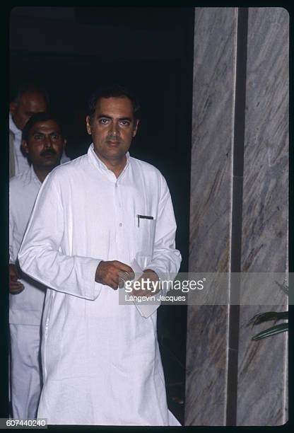 Rajiv Gandhi Indira Gandhi's son wearing a traditional Kurta during the mourning for his mother Indira Gandhi was the Prime Minister of India who was...