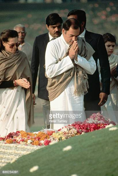 Rajiv Gandhi Paying Respects to Indira Gandhi