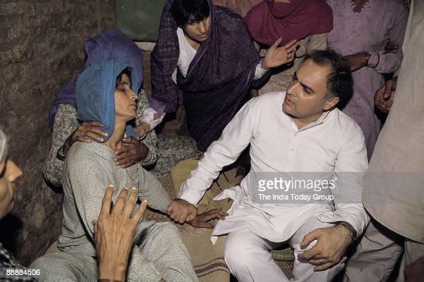 Rajiv Gandhi Prime Minister meeting Victims Families of Terrorism in JK