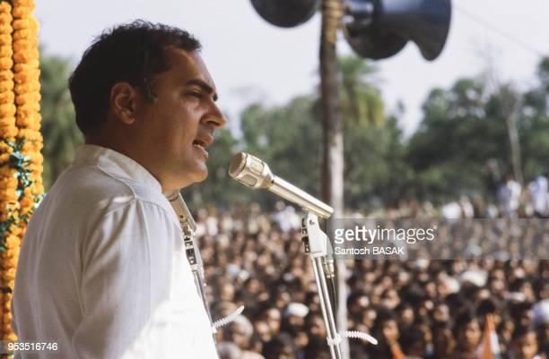 Rajiv Gandhi prononce un discours lors d'une visite à Calcutta le 5 mars 1984 lnde