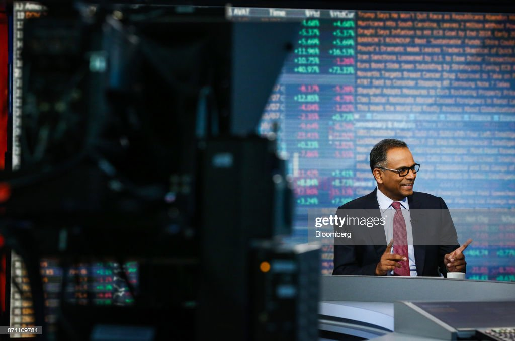 Rajiv Jain, chairman and chief investment officer of GQG Partners LLC, gestures while speaking during a Bloomberg Television interview in New York, U.S., on Tuesday, Nov. 14, 2017. Jain made the bullish case for investing in Russia on growth and earnings. Photographer: Christopher Goodney/Bloomberg via Getty Images