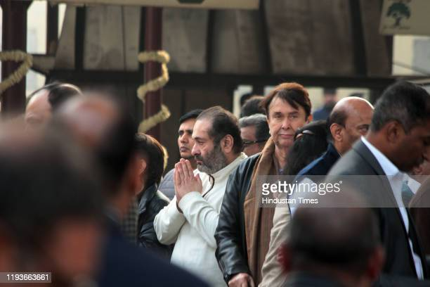 Rajiv Kapoor and Randhir Kapoor at the funeral of Ritu Nanda at Lodhi Road Crematorium on January 14 2020 in New Delhi India Ritu Nanda late actor...