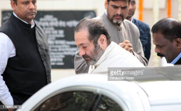 Rajiv Kapoor at the funeral of Ritu Nanda at Lodhi Road Crematorium on January 14 2020 in New Delhi India Ritu Nanda late actor Raj Kapoor's daughter...