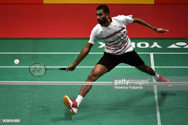 Rajiv Ouseph of England competes against Jeon Hyeok Jin of Korea during Men Singles Round 32 match of the Daihatsu Indonesia Masters 2018 at Istora...