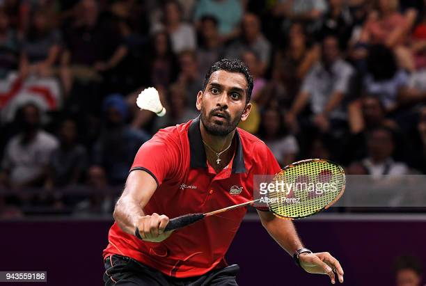 Rajiv Ouseph of England competes in the Badminton Mixed Team bronze medal match against Kean Yew Loh of Singapore on day five of the Gold Coast 2018...