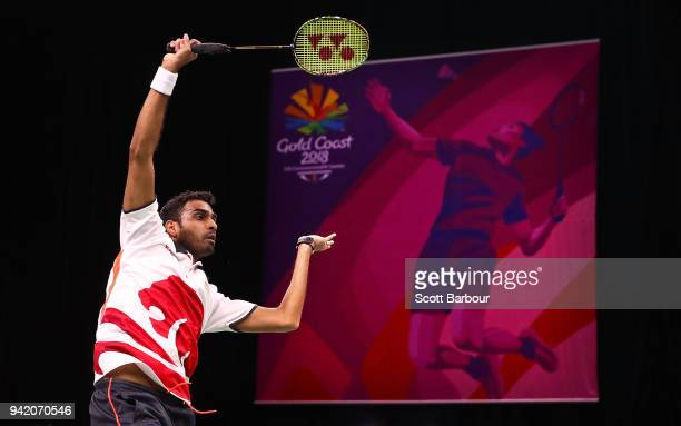 Rajiv Ouseph of England plays ashot as he competes against Uganda during the Badminton Mixed Team Group Play Stage Group A on day one of the Gold...