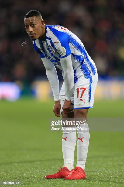 Rajiv van La Parra of Huddersfield looks dejected during The Emirates FA Cup Fifth Round match between Huddersfield Town and Manchester United at the...