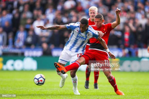Rajiv Van La Parra of Huddersfield Town and Richarlison of Watford during the Premier League match between Huddersfield Town and Watford at John...