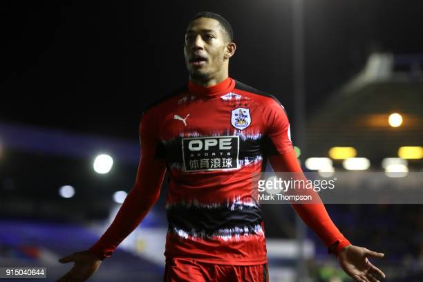 Rajiv van La Parra of Huddersfield Town celebrates after scoring his sides third goal during The Emirates FA Cup Fourth Round match between...