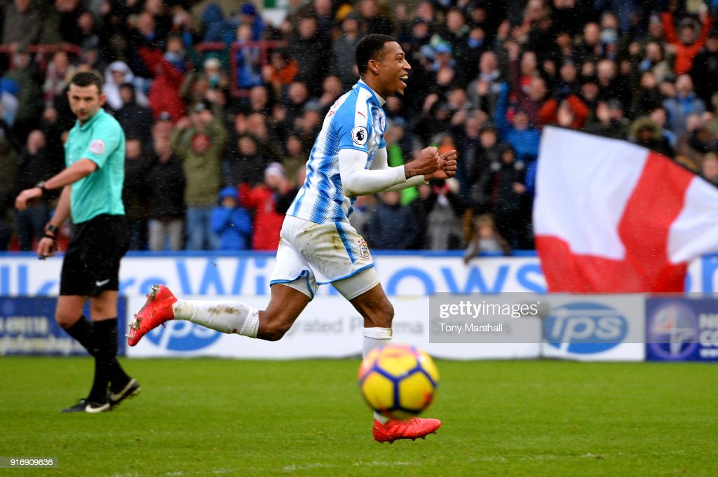 Rajiv van La Parra of Huddersfield Town celebrates after scoring his sides fourth goal during the Premier League match between Huddersfield Town and AFC Bournemouth at John Smith's Stadium on February 11, 2018 in Huddersfield, England.