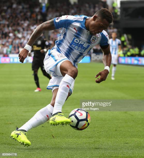 Rajiv van la Parra of Huddersfield Town controls the ball during the Premier League match between Huddersfield Town and Newcastle United at John...