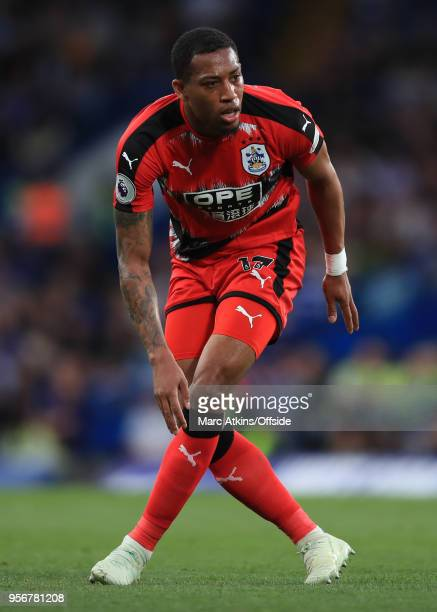 Rajiv van La Parra of Huddersfield Town during the Premier League match between Chelsea and Huddersfield Town at Stamford Bridge on May 9 2018 in...