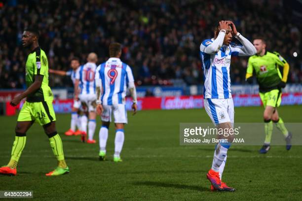 Rajiv Van La Parra of Huddersfield Town reacts after missing a penalty during the Sky Bet Championship match between Huddersfield Town and Reading at...