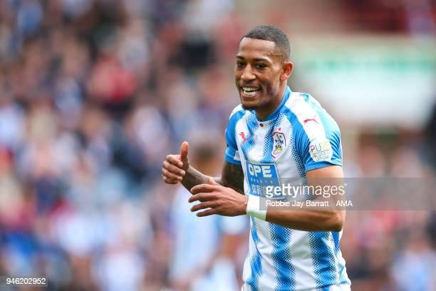 Rajiv Van La Parra of Huddersfield Town reactscduring the Premier League match between Huddersfield Town and Watford at John Smith's Stadium on April...