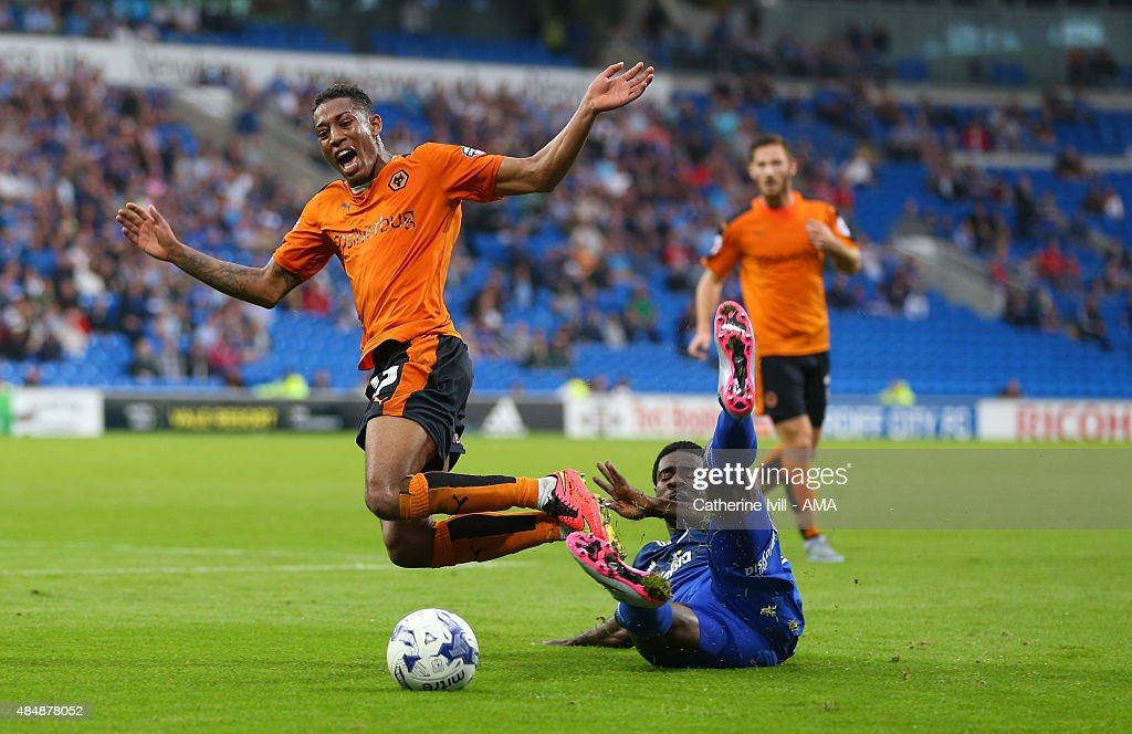 Rajiv van La Parra of Wolverhampton Wanderers and Kagisho Dikgacoi of Cardiff City during the match the Sky Bet Championship match between Cardiff City and Wolverhampton Wanderers at Cardiff City Stadium on August 22, 2015 in Cardiff, Wales.