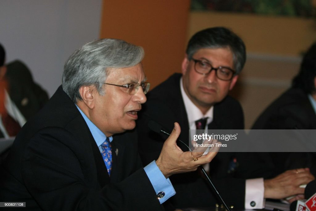 Rajive Kaul Chairman CII Apex Council for Trade Fairs and Ravi Kant President Society Of Indian Auto Manufacturers (R) During the 9th Auto Expo 2008 Press Confernce on January 8, 2008 in New Delhi, India.