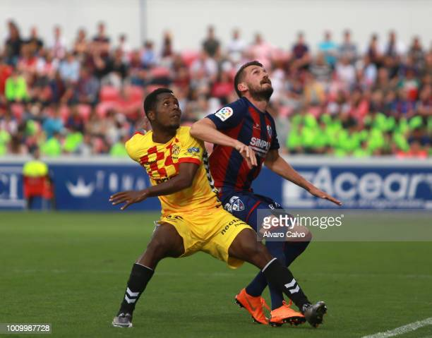 Rajko Brežančić of SD Huesca during the Spanish Liga123 match between SD Huesca and Nastic de Tarragona at Alcoraz Stadium on on May 27 2018 in...