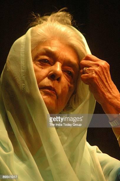 Rajmata Gayatri Devi looks on at the India Habitat Center on November 27, 2005 in New Delhi, India during the release of Amjad Ali Khan's latest...