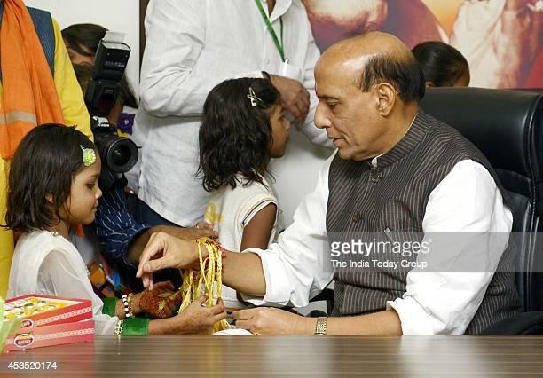 Rajnath Singh Union Minister of Home Affairs celebrate Raksha Bandhan with school children in New Delhi