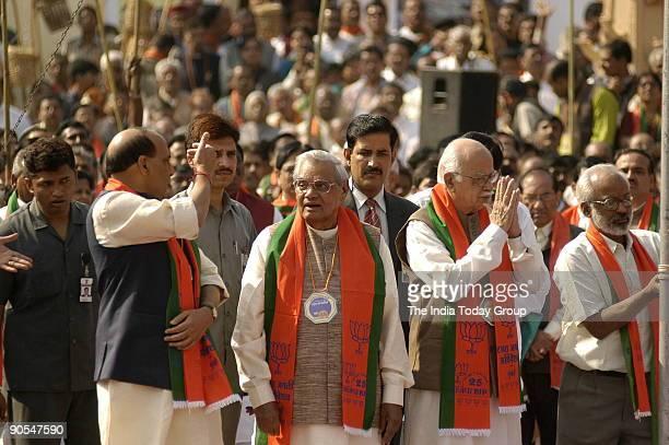 Rajnath Singh with Atal Bihari Vajpayee former Prime Minister of India and Lal Krishna Advani President of BJP and Former Deputy Prime Minister at...