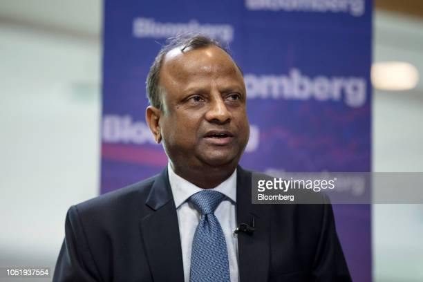 Rajnish Kumar chairman of the State Bank of India Ltd speaks during a Bloomberg Television interview on the sidelines of the International Monetary...