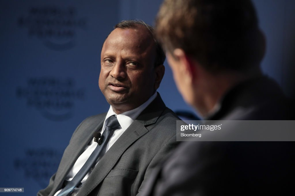 Rajnish Kumar, chief executive officer of State Bank of India Ltd., speaks during a panel session on day two of the World Economic Forum (WEF) in Davos, Switzerland, on Wednesday, Jan. 24, 2018. World leaders, influential executives, bankers and policy makers attend the 48th annual meeting of the World Economic Forum in Davos from Jan. 23 - 26. Photographer: Jason Alden/Bloomberg via Getty Images
