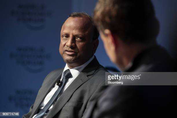 Rajnish Kumar chief executive officer of State Bank of India Ltd speaks during a panel session on day two of the World Economic Forum in Davos...
