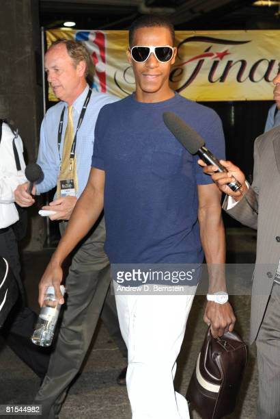 Rajon Rondo of the Boston Celtics arrives at the arena before taking on the Los Angeles Lakers in Game Four of the 2008 NBA Finals at Staples Center...
