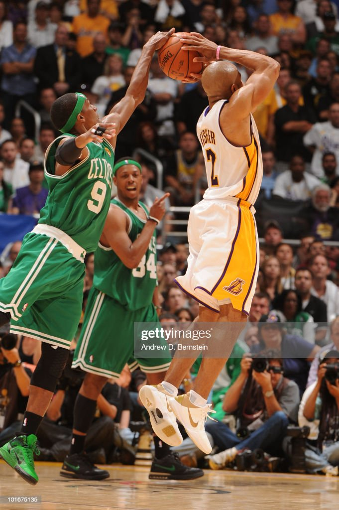 Rajon Rondo #9 of the Boston Celtics blocks the shot of Derek Fisher #2 of the Los Angeles Lakers in Game Two of the 2010 NBA Finals on June 6, 2010 at Staples Center in Los Angeles, California.