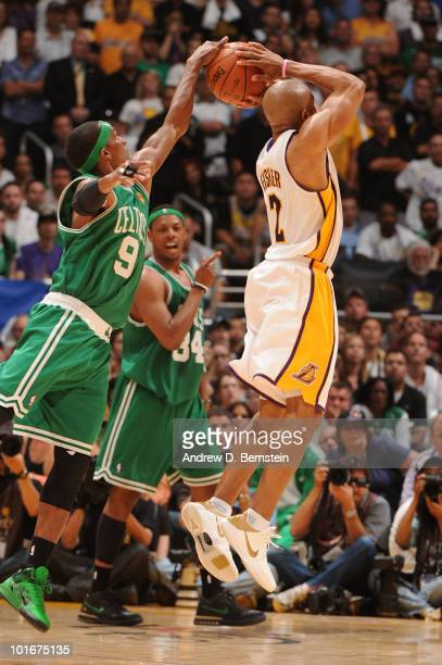 Rajon Rondo of the Boston Celtics blocks the shot of Derek Fisher of the Los Angeles Lakers in Game Two of the 2010 NBA Finals on June 6 2010 at...