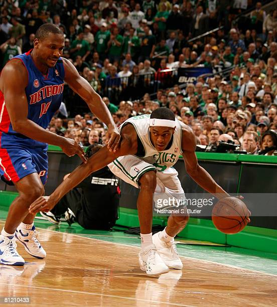 Rajon Rondo of the Boston Celtics dribbles against Lindsey Hunter of the Detroit Pistons in Game Two of the Eastern Conference Finals during the 2008...