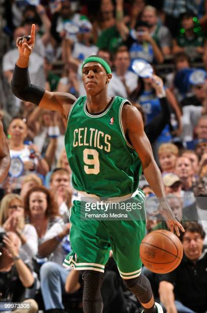 Rajon Rondo of the Boston Celtics dribbles against the Orlando Magic in Game Two of the Eastern Conference Finals during the 2010 NBA Playoffs on May...