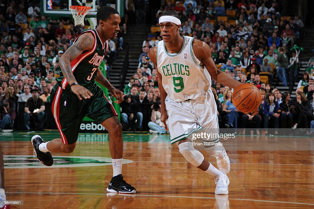 Rajon Rondo #9 of the Boston Celtics dribbles the ball during the game against the Milwaukee Bucks on April 14, 2010 at the TD Garden in Boston, Massachusetts.